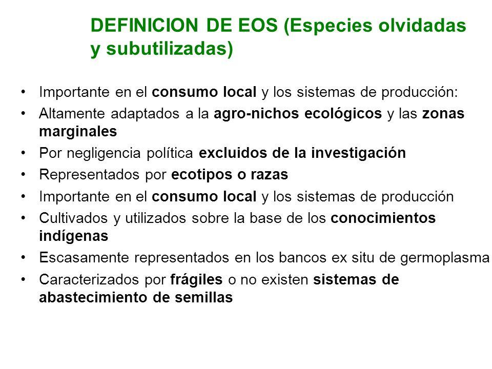 DEFINICION DE EOS (Especies olvidadas y subutilizadas) Importante en el consumo local y los sistemas de producción: Altamente adaptados a la agro-nich