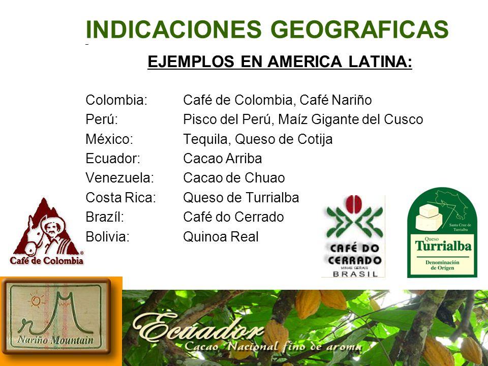 INDICACIONES GEOGRAFICAS – EJEMPLOS EN AMERICA LATINA: Colombia:Café de Colombia, Café Nariño Perú:Pisco del Perú, Maíz Gigante del Cusco México:Tequi