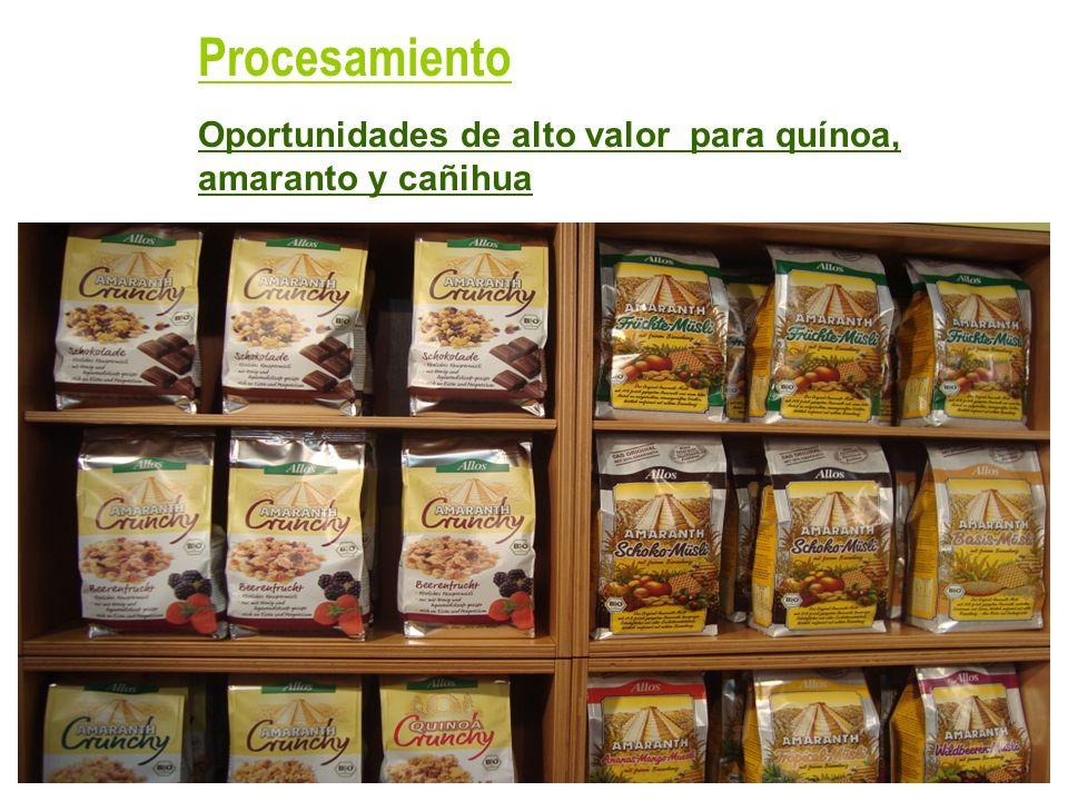 Oportunidades de alto valor para quínoa, amaranto y cañihua Procesamiento