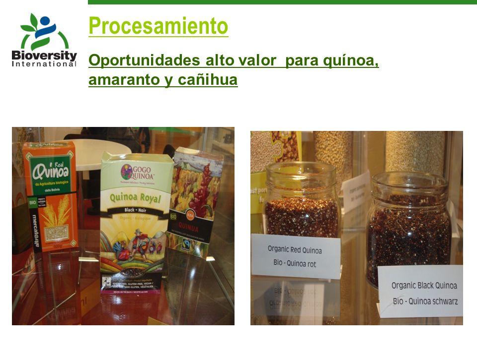 Oportunidades alto valor para quínoa, amaranto y cañihua Procesamiento