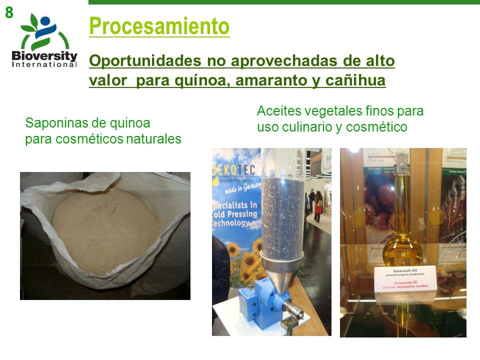 Oportunidades no aprovechadas de alto valor para quínoa, amaranto y cañihua Procesamiento Saponinas de quinoa para cosméticos naturales Aceites vegeta
