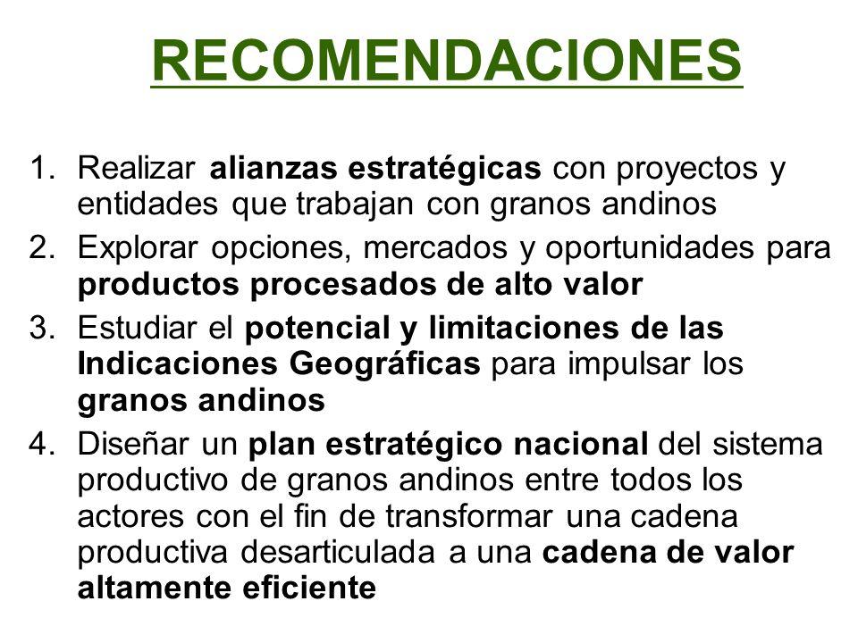 RECOMENDACIONES 1.Realizar alianzas estratégicas con proyectos y entidades que trabajan con granos andinos 2.Explorar opciones, mercados y oportunidad