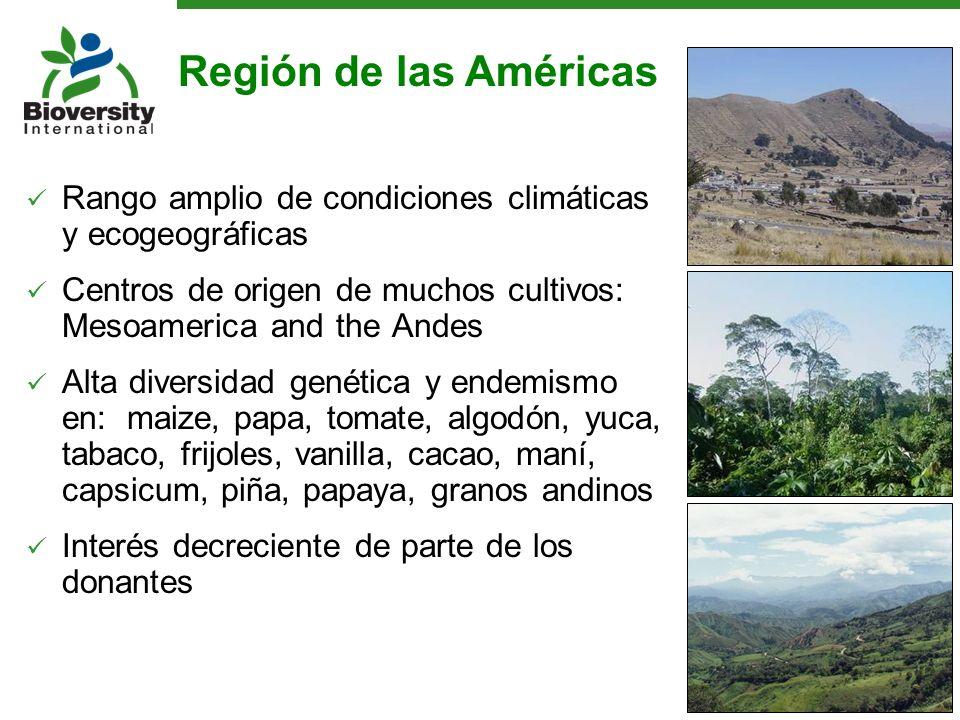 Rango amplio de condiciones climáticas y ecogeográficas Centros de origen de muchos cultivos: Mesoamerica and the Andes Alta diversidad genética y end