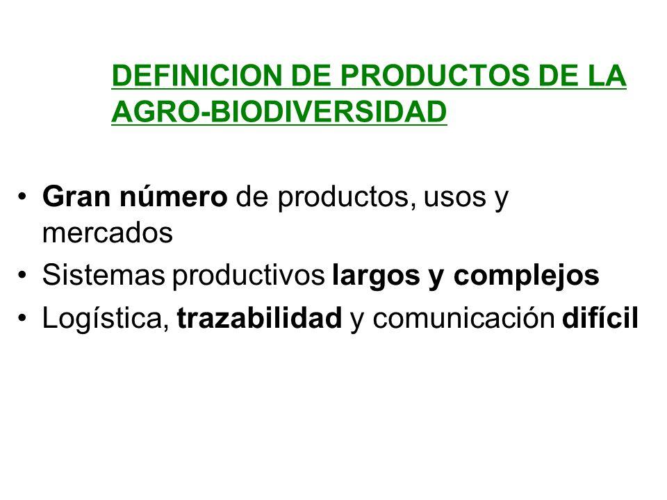DEFINICION DE PRODUCTOS DE LA AGRO-BIODIVERSIDAD Gran número de productos, usos y mercados Sistemas productivos largos y complejos Logística, trazabil