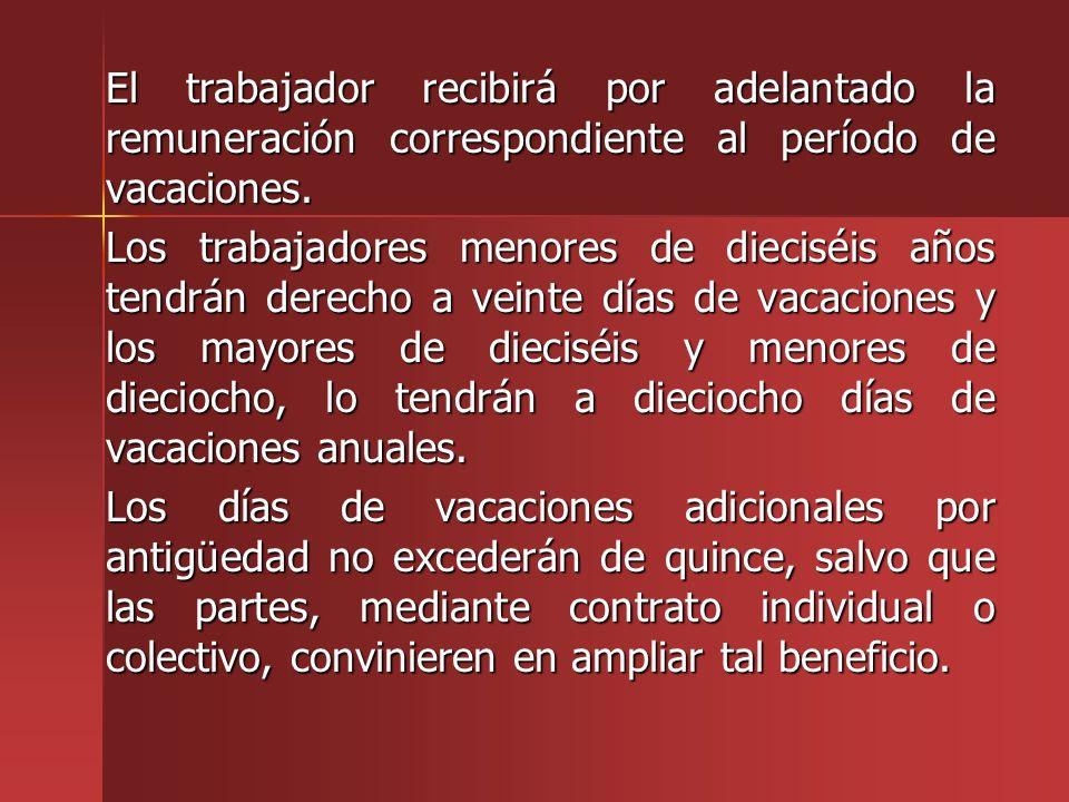 El trabajador recibirá por adelantado la remuneración correspondiente al período de vacaciones. El trabajador recibirá por adelantado la remuneración