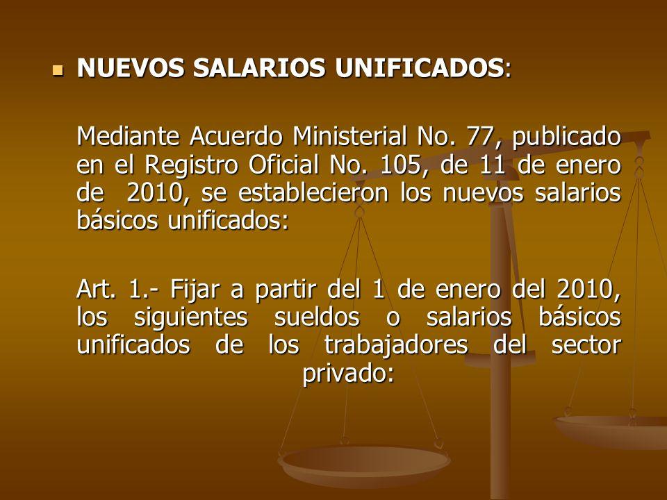 NUEVOS SALARIOS UNIFICADOS: NUEVOS SALARIOS UNIFICADOS: Mediante Acuerdo Ministerial No. 77, publicado en el Registro Oficial No. 105, de 11 de enero