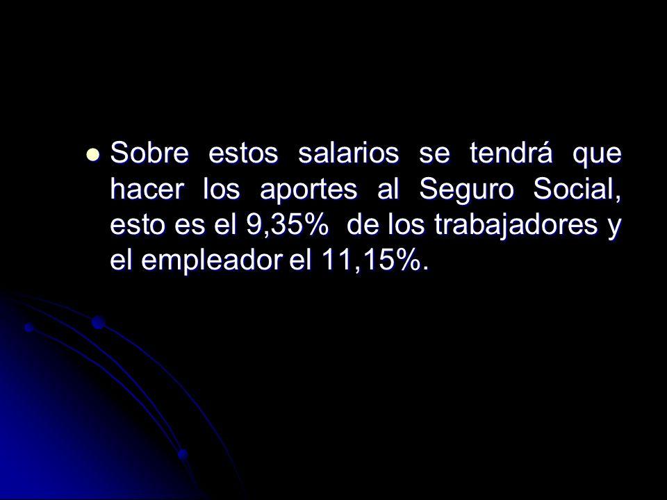 Sobre estos salarios se tendrá que hacer los aportes al Seguro Social, esto es el 9,35% de los trabajadores y el empleador el 11,15%. Sobre estos sala