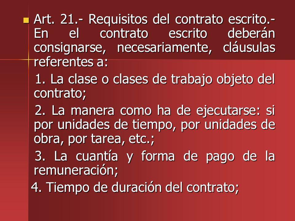 Art. 21.- Requisitos del contrato escrito.- En el contrato escrito deberán consignarse, necesariamente, cláusulas referentes a: Art. 21.- Requisitos d