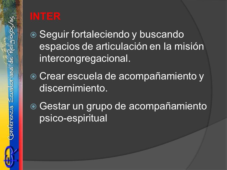 INTER Seguir fortaleciendo y buscando espacios de articulación en la misión intercongregacional. Crear escuela de acompañamiento y discernimiento. Ges