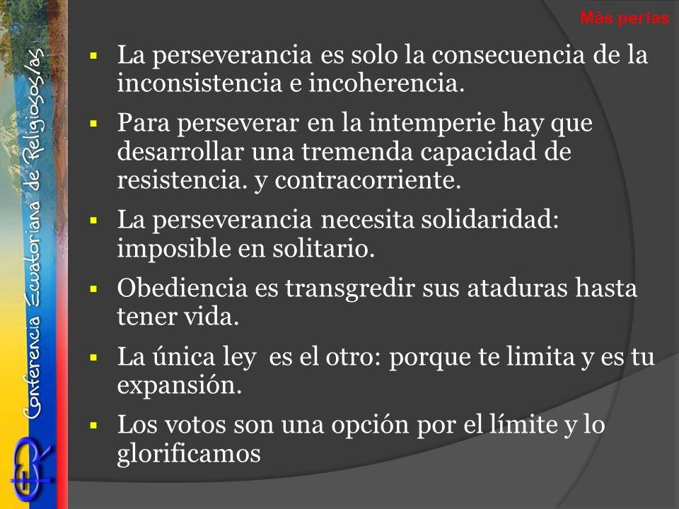 La perseverancia es solo la consecuencia de la inconsistencia e incoherencia. Para perseverar en la intemperie hay que desarrollar una tremenda capaci