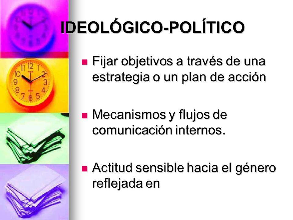 IDEOLÓGICO-POLÍTICO IDEOLÓGICO-POLÍTICO Fijar objetivos a través de una estrategia o un plan de acción Fijar objetivos a través de una estrategia o un