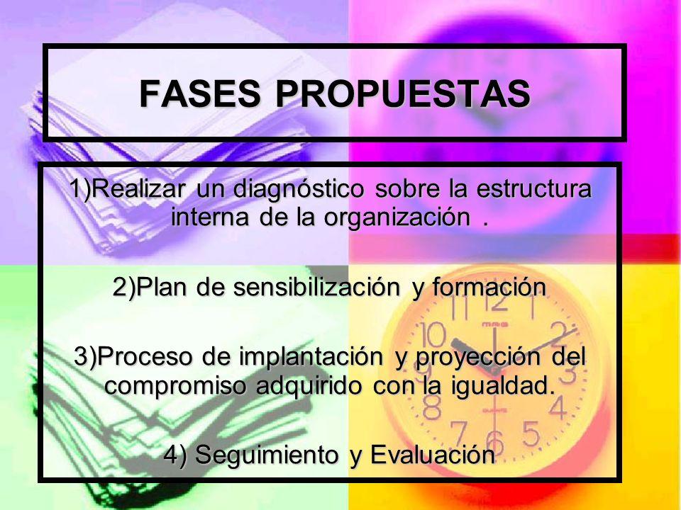 FASES PROPUESTAS 1)Realizar un diagnóstico sobre la estructura interna de la organización. 2)Plan de sensibilización y formación 3)Proceso de implanta