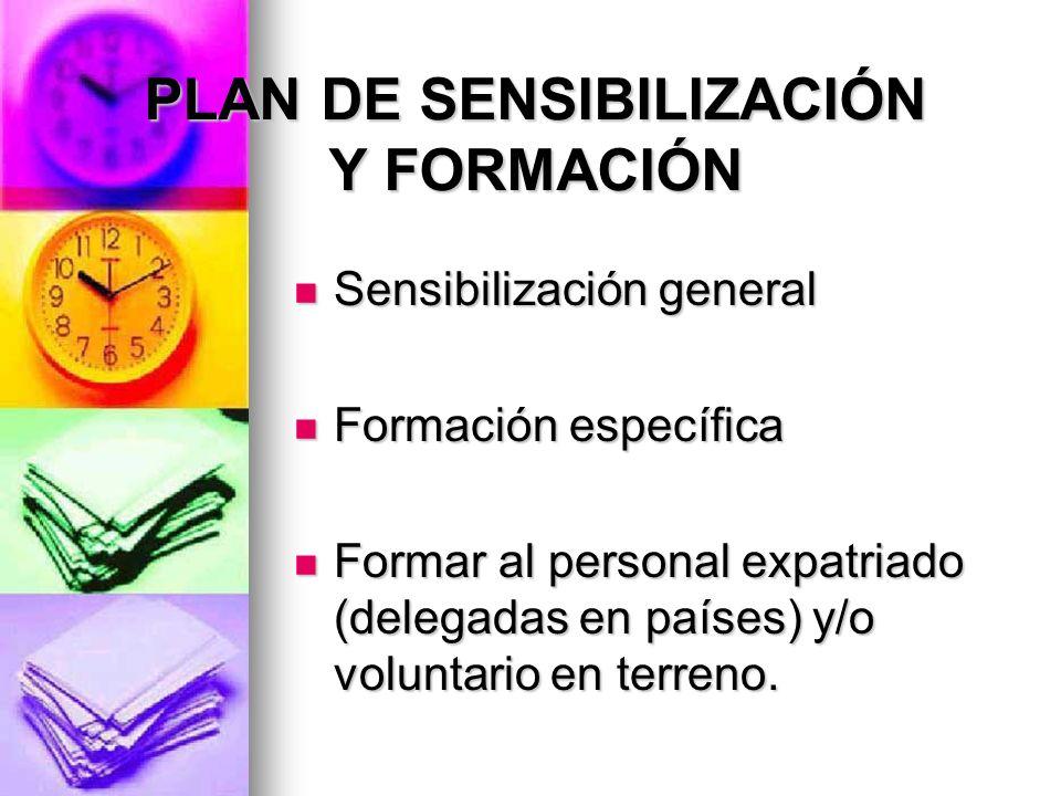 PLAN DE SENSIBILIZACIÓN Y FORMACIÓN Sensibilización general Sensibilización general Formación específica Formación específica Formar al personal expat