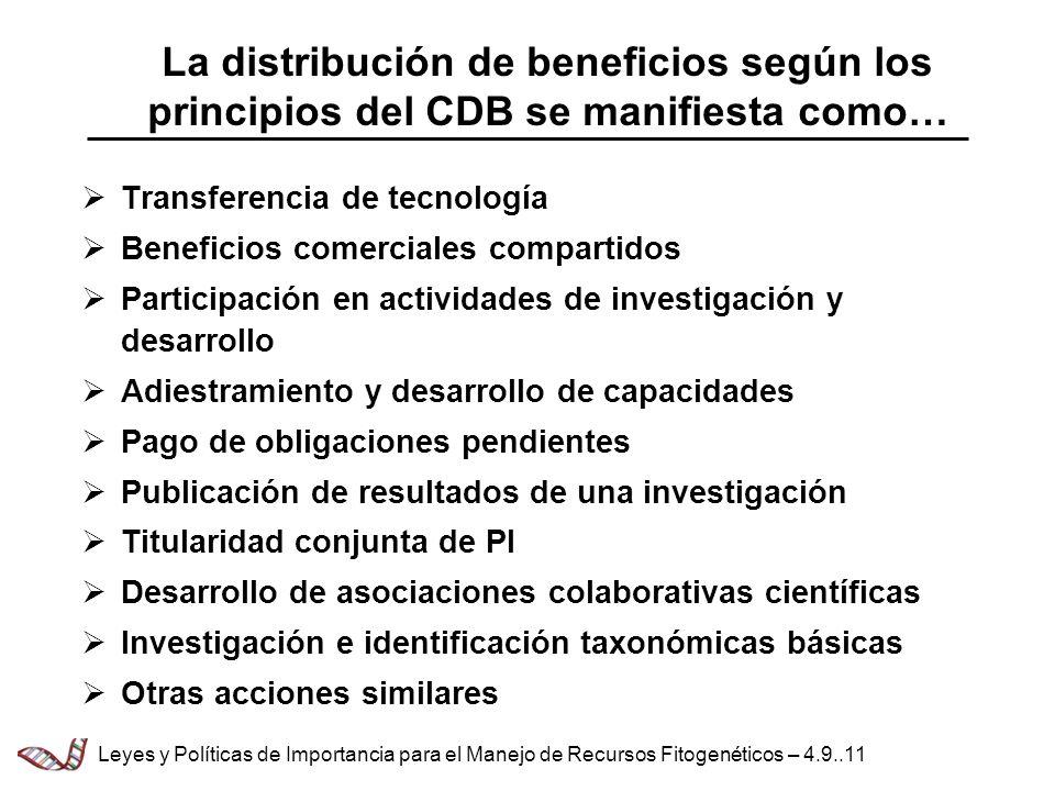 La distribución de beneficios según los principios del CDB se manifiesta como… Transferencia de tecnología Beneficios comerciales compartidos Participación en actividades de investigación y desarrollo Adiestramiento y desarrollo de capacidades Pago de obligaciones pendientes Publicación de resultados de una investigación Titularidad conjunta de PI Desarrollo de asociaciones colaborativas científicas Investigación e identificación taxonómicas básicas Otras acciones similares Leyes y Políticas de Importancia para el Manejo de Recursos Fitogenéticos – 4.9..11