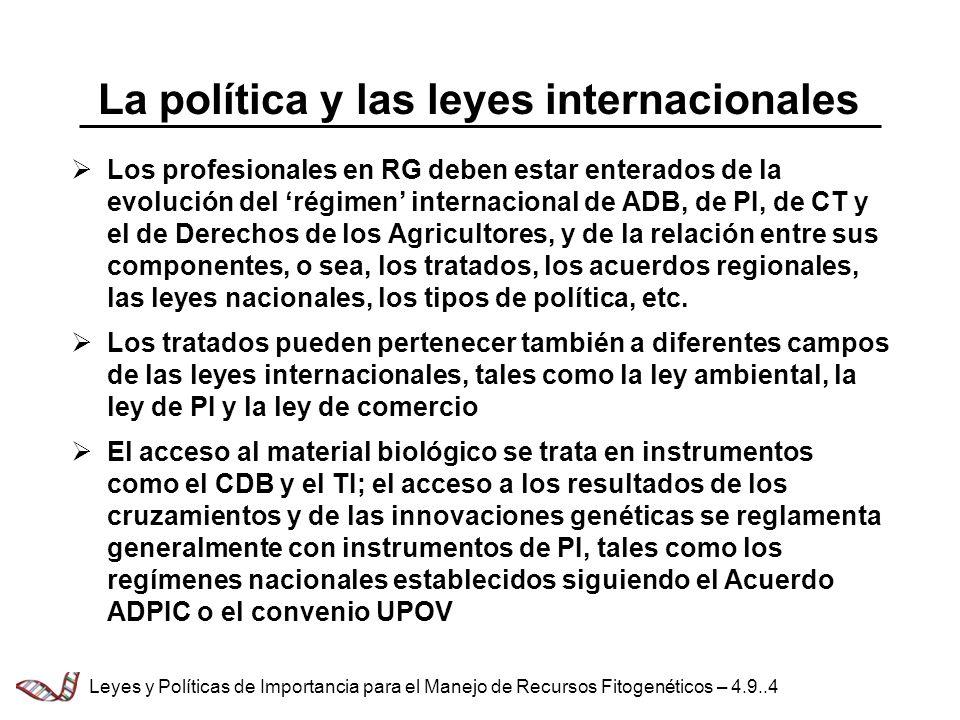 La política y las leyes internacionales Los profesionales en RG deben estar enterados de la evolución del régimen internacional de ADB, de PI, de CT y el de Derechos de los Agricultores, y de la relación entre sus componentes, o sea, los tratados, los acuerdos regionales, las leyes nacionales, los tipos de política, etc.