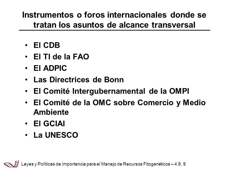 Instrumentos o foros internacionales donde se tratan los asuntos de alcance transversal El CDB El TI de la FAO El ADPIC Las Directrices de Bonn El Comité Intergubernamental de la OMPI El Comité de la OMC sobre Comercio y Medio Ambiente El GCIAI La UNESCO Leyes y Políticas de Importancia para el Manejo de Recursos Fitogenéticos – 4.9..9