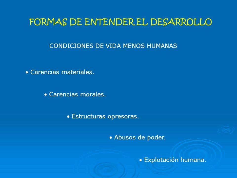 FORMAS DE ENTENDER EL DESARROLLO CONDICIONES DE VIDA MENOS HUMANAS Carencias materiales.