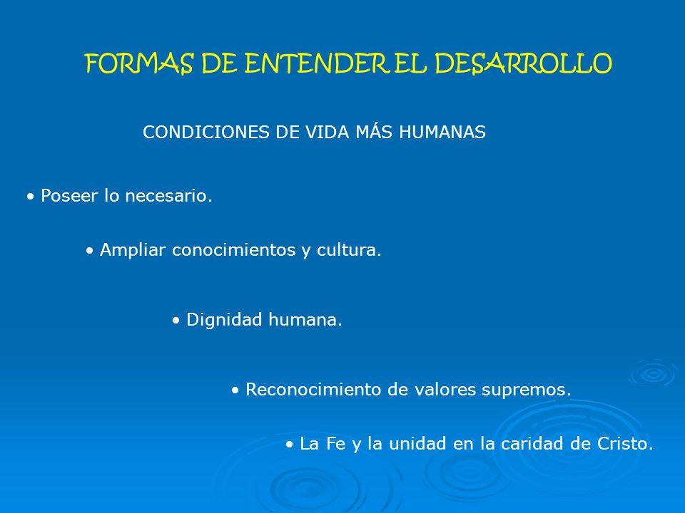 FORMAS DE ENTENDER EL DESARROLLO CONDICIONES DE VIDA MÁS HUMANAS Poseer lo necesario.