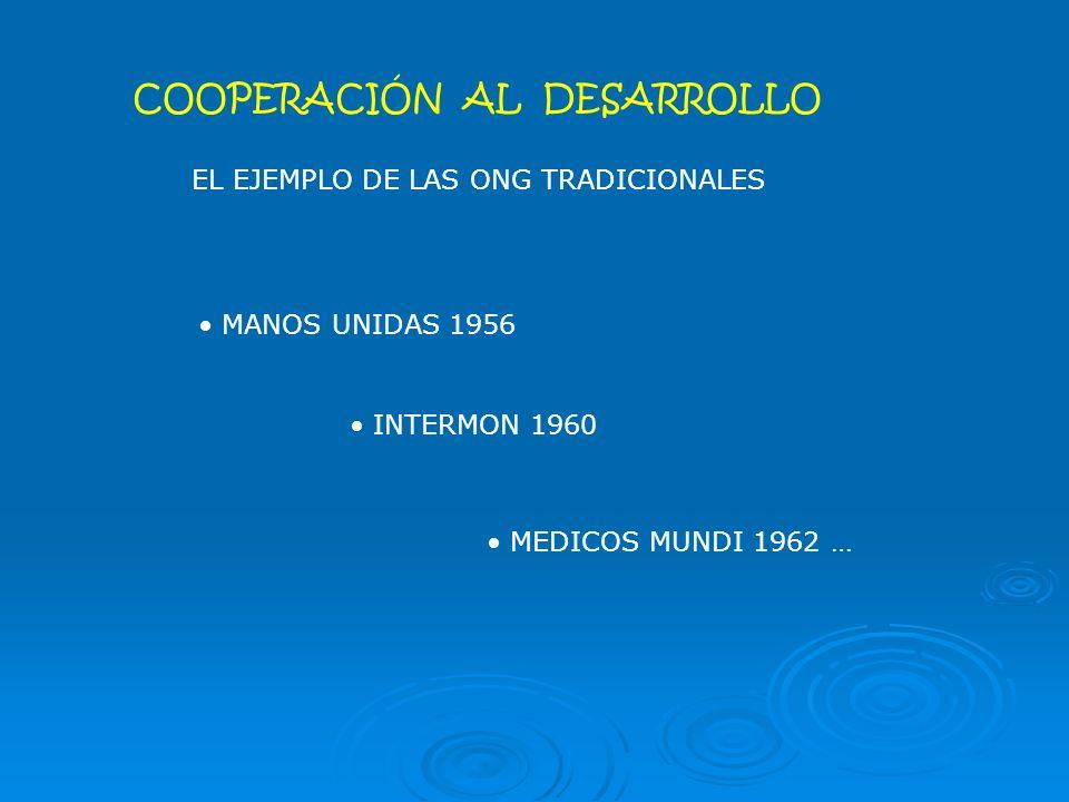 COOPERACIÓN AL DESARROLLO EL EJEMPLO DE LAS ONG TRADICIONALES MANOS UNIDAS 1956 INTERMON 1960 MEDICOS MUNDI 1962 …