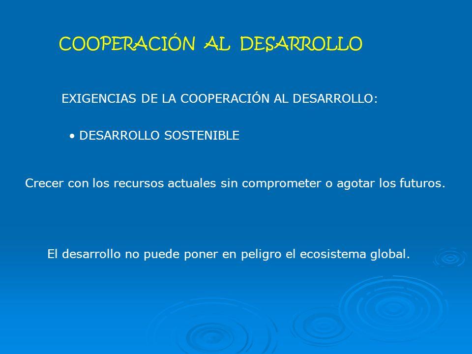 COOPERACIÓN AL DESARROLLO EXIGENCIAS DE LA COOPERACIÓN AL DESARROLLO: DESARROLLO SOSTENIBLE El desarrollo no puede poner en peligro el ecosistema global.