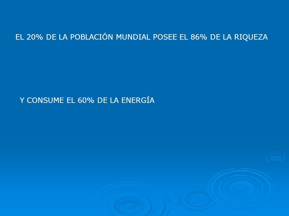 EL 20% DE LA POBLACIÓN MUNDIAL POSEE EL 86% DE LA RIQUEZA Y CONSUME EL 60% DE LA ENERGÍA