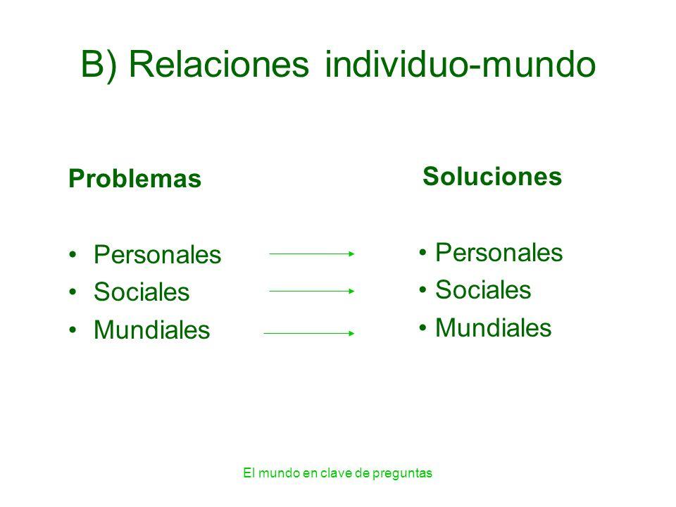 El mundo en clave de preguntas B) Relaciones individuo-mundo Problemas Personales Sociales Mundiales Soluciones Personales Sociales Mundiales