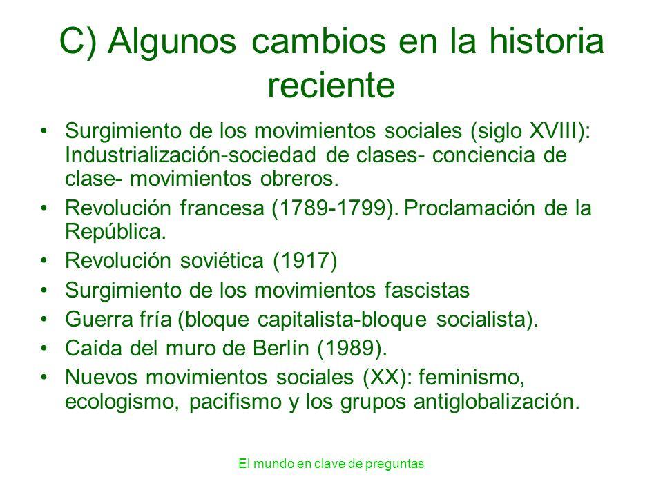 El mundo en clave de preguntas C) Algunos cambios en la historia reciente Surgimiento de los movimientos sociales (siglo XVIII): Industrialización-soc
