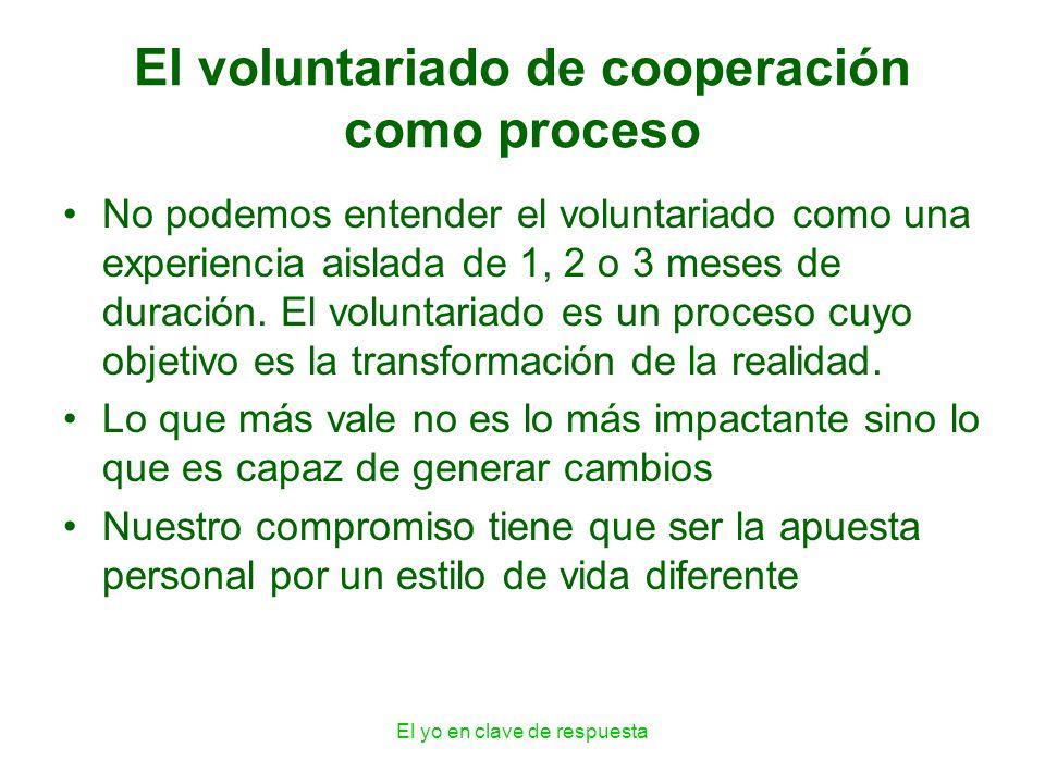 El yo en clave de respuesta El voluntariado de cooperación como proceso No podemos entender el voluntariado como una experiencia aislada de 1, 2 o 3 m