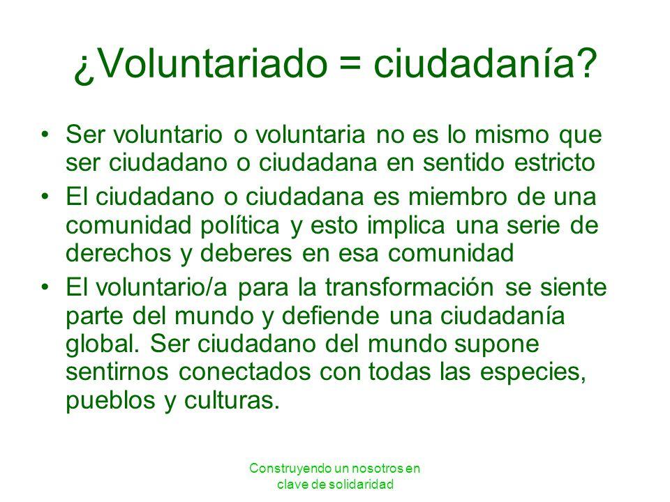 Construyendo un nosotros en clave de solidaridad ¿Voluntariado = ciudadanía? Ser voluntario o voluntaria no es lo mismo que ser ciudadano o ciudadana