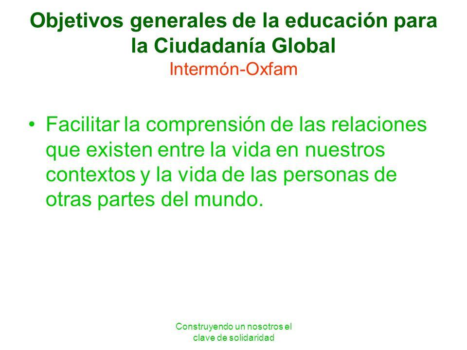 Construyendo un nosotros el clave de solidaridad Objetivos generales de la educación para la Ciudadanía Global Intermón-Oxfam Facilitar la comprensión
