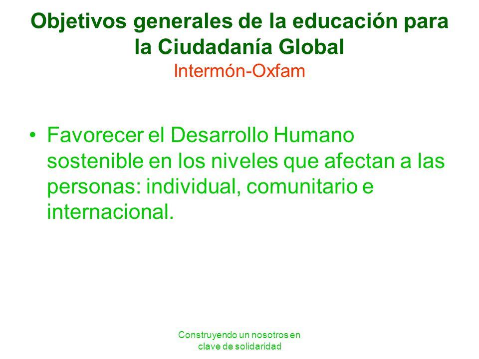 Construyendo un nosotros en clave de solidaridad Objetivos generales de la educación para la Ciudadanía Global Intermón-Oxfam Favorecer el Desarrollo