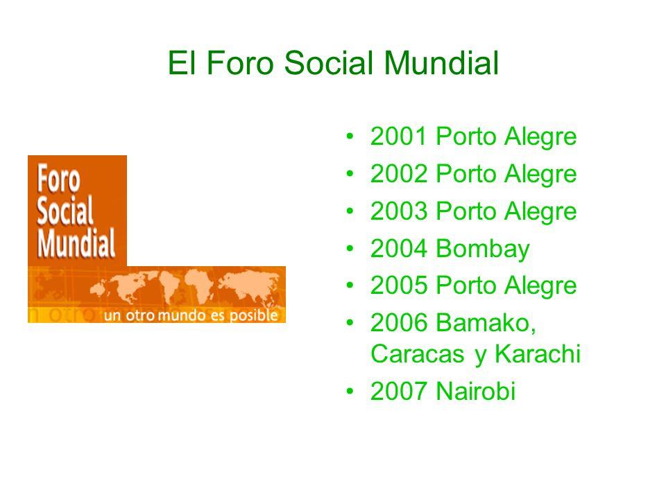 El Foro Social Mundial 2001 Porto Alegre 2002 Porto Alegre 2003 Porto Alegre 2004 Bombay 2005 Porto Alegre 2006 Bamako, Caracas y Karachi 2007 Nairobi