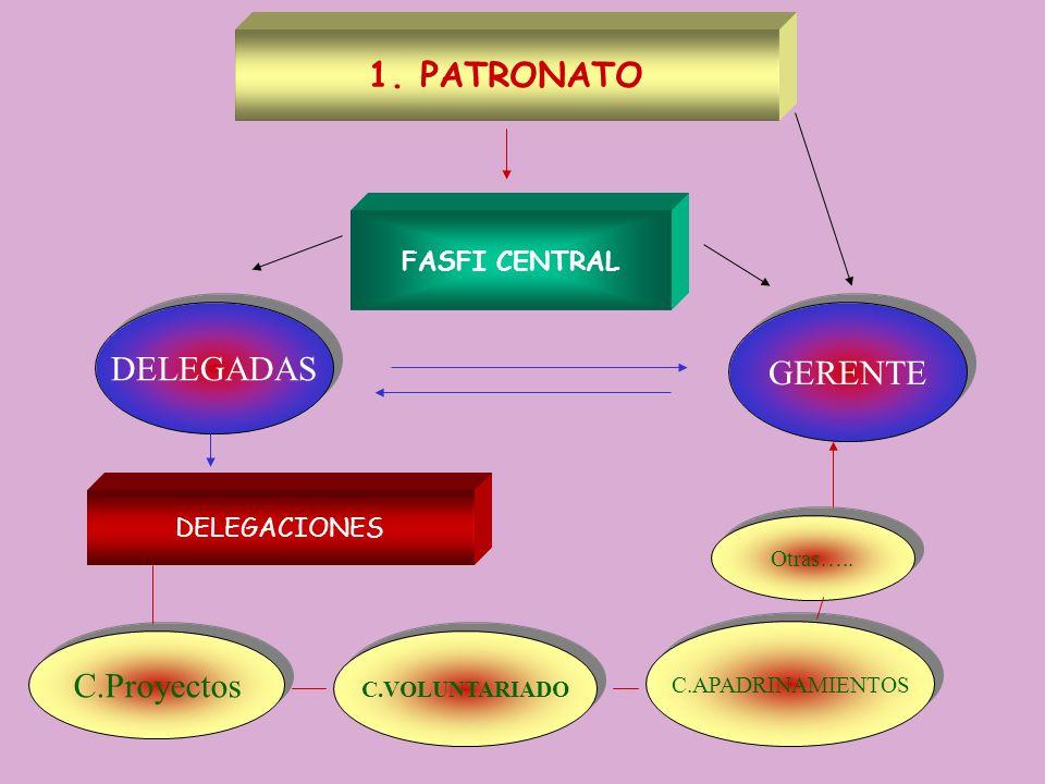 1.PATRONATO DELEGADAS GERENTE DELEGACIONES C.APADRINAMIENTOS C.Proyectos C.VOLUNTARIADO FASFI CENTRAL Otras…..