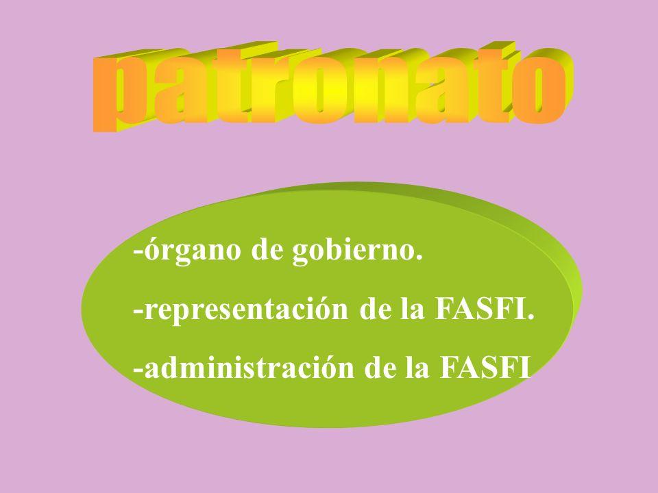 -órgano de gobierno. -representación de la FASFI. -administración de la FASFI