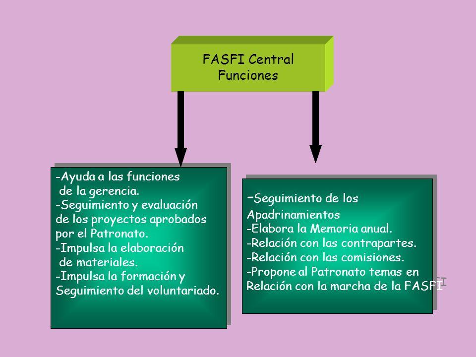 FASFI Central Funciones -Ayuda a las funciones de la gerencia. -Seguimiento y evaluación de los proyectos aprobados por el Patronato. -Impulsa la elab
