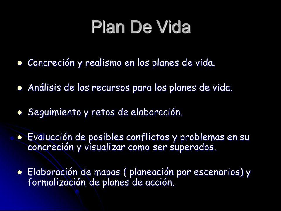 Plan De Vida Concreción y realismo en los planes de vida. Concreción y realismo en los planes de vida. Análisis de los recursos para los planes de vid