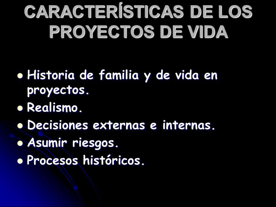 CARACTERÍSTICAS DE LOS PROYECTOS DE VIDA Historia de familia y de vida en proyectos. Historia de familia y de vida en proyectos. Realismo. Realismo. D