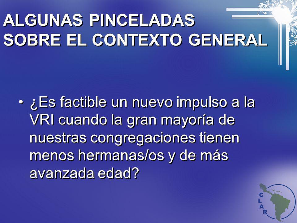 ALGUNAS PINCELADAS SOBRE EL CONTEXTO GENERAL ¿Es factible un nuevo impulso a la VRI cuando la gran mayoría de nuestras congregaciones tienen menos her