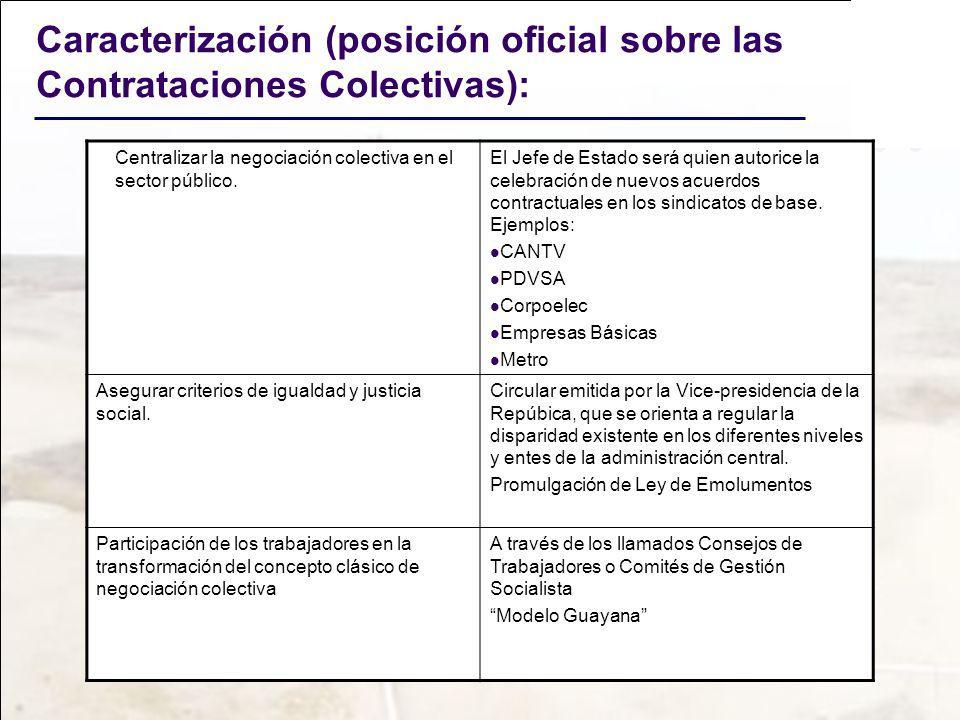 Caracterización (posición oficial sobre las Contrataciones Colectivas): Centralizar la negociación colectiva en el sector público. El Jefe de Estado s