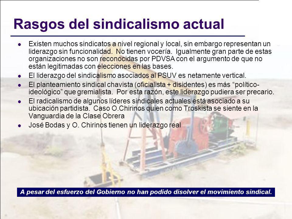 Rasgos del sindicalismo actual Existen muchos sindicatos a nivel regional y local, sin embargo representan un liderazgo sin funcionalidad. No tienen v