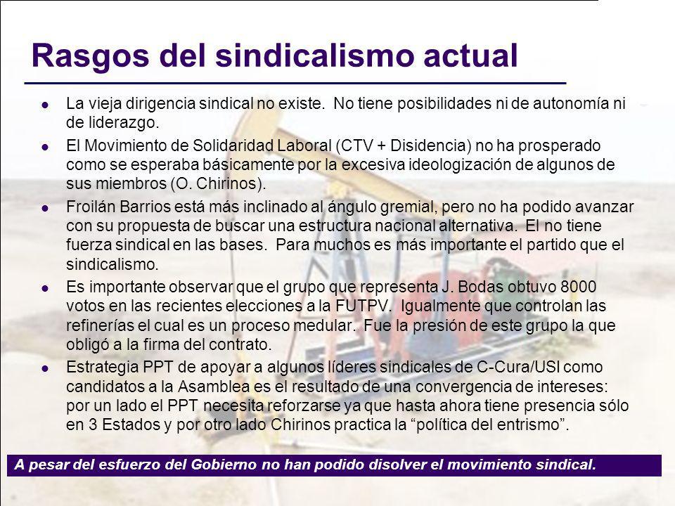 Rasgos del sindicalismo actual La vieja dirigencia sindical no existe. No tiene posibilidades ni de autonomía ni de liderazgo. El Movimiento de Solida