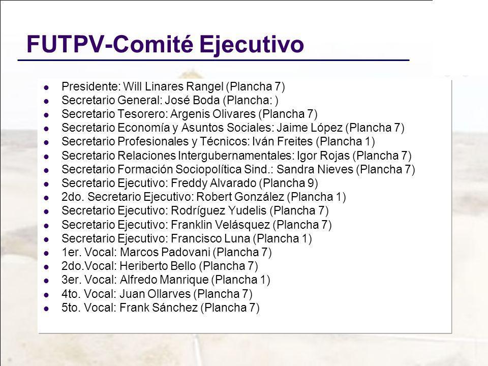 FUTPV-Comité Ejecutivo Presidente: Will Linares Rangel (Plancha 7) Secretario General: José Boda (Plancha: ) Secretario Tesorero: Argenis Olivares (Pl