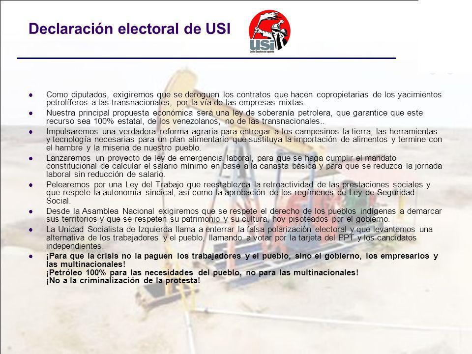 Declaración electoral de USI Como diputados, exigiremos que se deroguen los contratos que hacen copropietarias de los yacimientos petrolíferos a las t