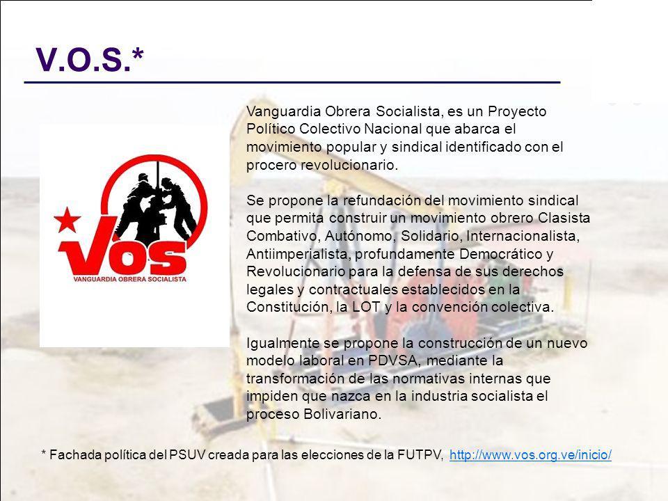 V.O.S.* Vanguardia Obrera Socialista, es un Proyecto Político Colectivo Nacional que abarca el movimiento popular y sindical identificado con el proce