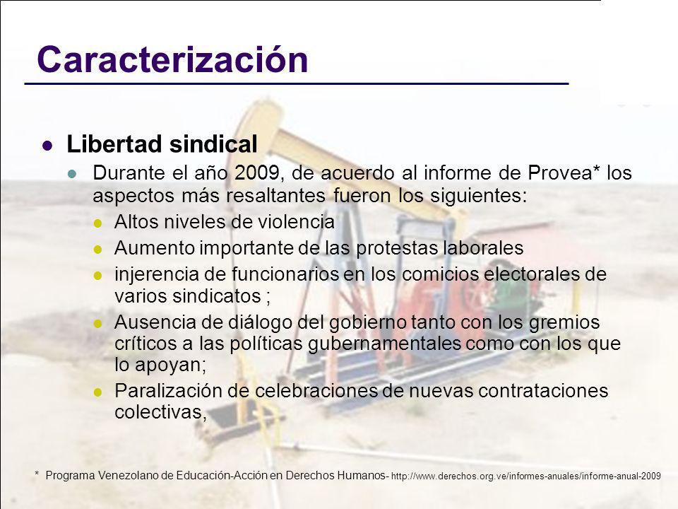 Caracterización Libertad sindical Durante el año 2009, de acuerdo al informe de Provea* los aspectos más resaltantes fueron los siguientes: Altos nive