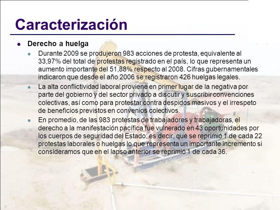 Caracterización Derecho a huelga Durante 2009 se produjeron 983 acciones de protesta, equivalente al 33,97% del total de protestas registrado en el pa