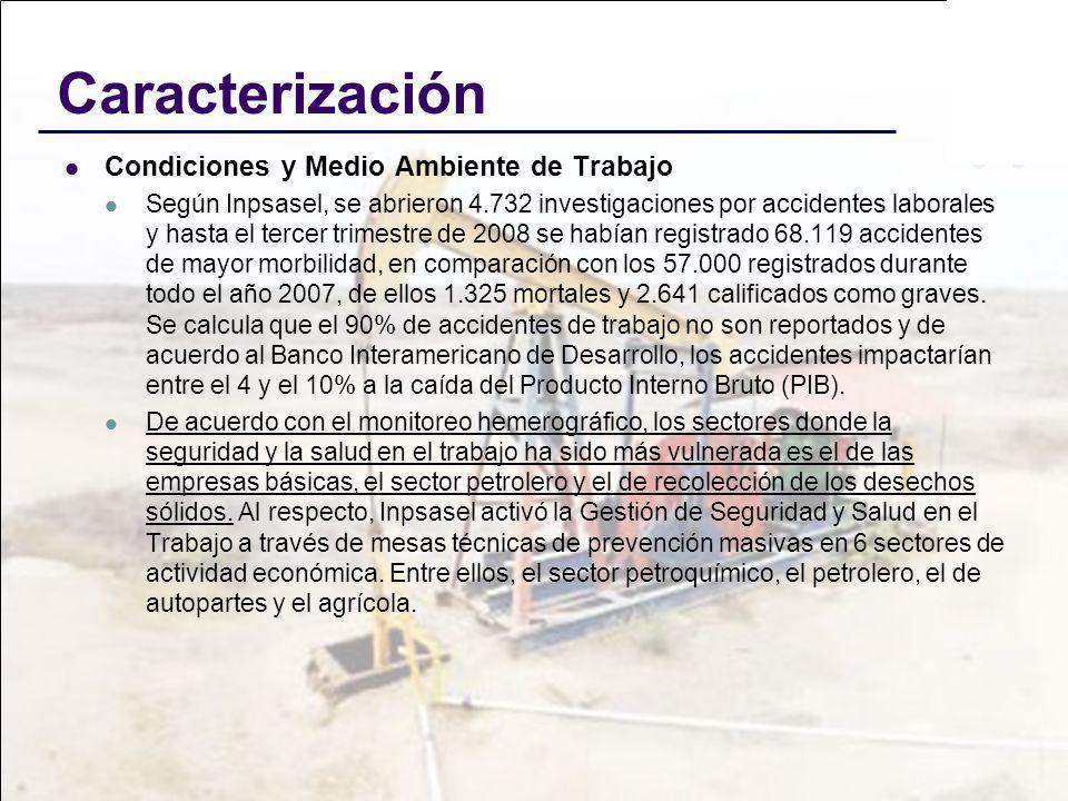 Caracterización Condiciones y Medio Ambiente de Trabajo Según Inpsasel, se abrieron 4.732 investigaciones por accidentes laborales y hasta el tercer t