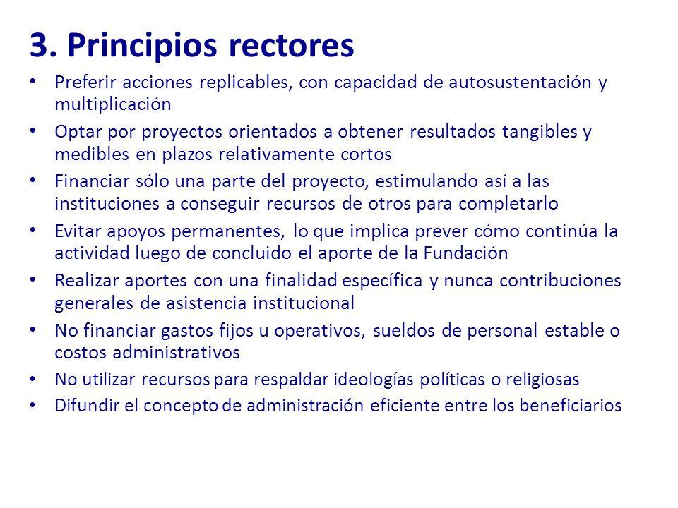 3. Principios rectores Preferir acciones replicables, con capacidad de autosustentación y multiplicación Optar por proyectos orientados a obtener resu