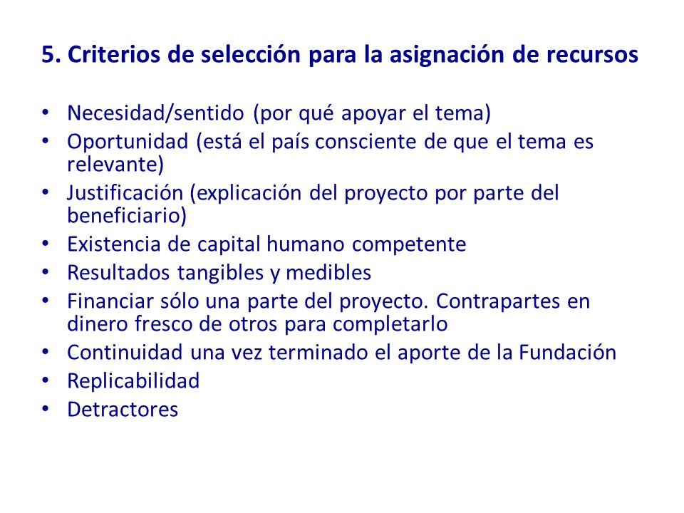 5. Criterios de selección para la asignación de recursos Necesidad/sentido (por qué apoyar el tema) Oportunidad (está el país consciente de que el tem