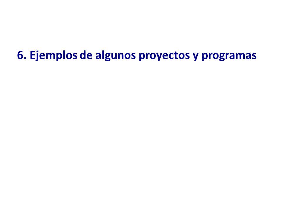 6. Ejemplos de algunos proyectos y programas
